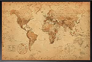 Framed World Map Vintage 36x24 Dry Mounted Poster Wood Framed Perfect For Push Pins Or Tracking Trips