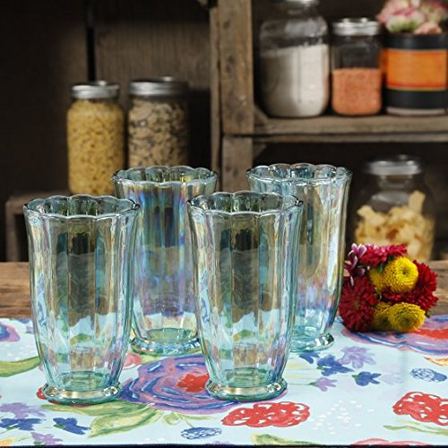 The Pioneer Woman Luster Green 15oz Pearlized Tumbler, Set of 4 -