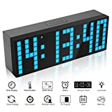ECVISION Large Big Number Jumbo LED snooze wall desk Alarm clock count down timer with calendar (Blue)