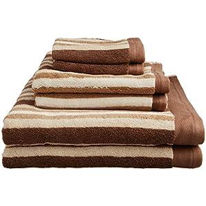 Superior Collection Luxurious Stripes 100% Premium Combed Cotton 6-Piece Towel Set, Chocolate