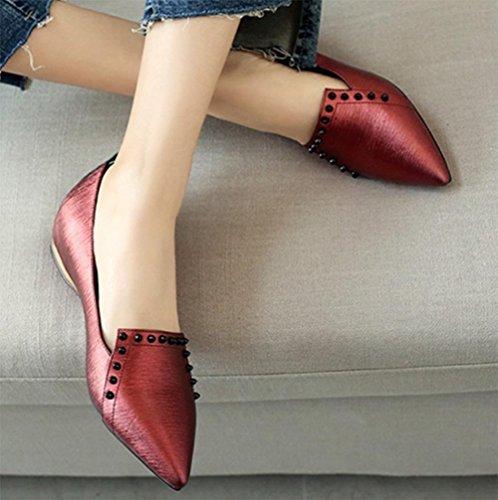 Frau flache Schuhe mit niedrigen Absätzen Schuhe flach Mund spitze Schuhe beiläufige flache Absatzschuhe wine red