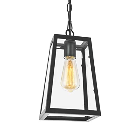 Lampundit Industrial Mini Pendant Lighting With Clear Glass Panels Metal Iron Frame Square Lantern Hanging Lighting Fixture For Kitchen Island