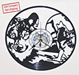 Wolf inspired vinyl record clock For Sale