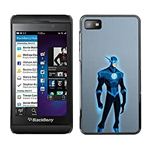 A-type Colorful Printed Hard Protective Back Case Cover Shell Skin for Blackberry Z10 ( Superhero Blue Costume Cartoon Comic Art )