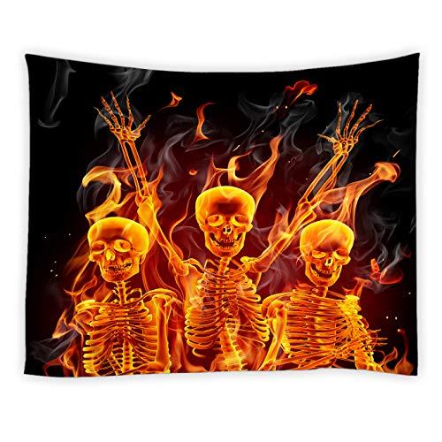jingjiji Skull Tapestry Flame Skulls Rock Abstract Idea Black Art Halloween Hippie Wall Hanging Tapestries Decor Bedroom Living Room Dorm Polyester Fabric 90 x 71 Inch]()