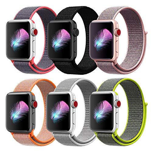 HILIMNY Compatible with for Apple Watch Band 44mm, Soft Nylon Sport Loop, Band Compatible with for iwatch Series 4, Series 3, Series 2, Series 1 (44mm, 6 Pack)