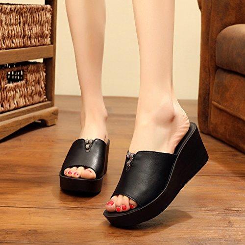 PENGFEI Zapatillas Pantofola Verano Hembra Cuña Fondo Grueso Playa De Arena Moda, Altura del Tacón 5CM, 2 Colores (Color : Negro, Tamaño : EU37/UK5/US6.5/235) Negro
