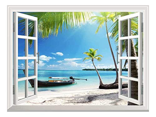 Removable Wall Sticker Wall Mural Boat on The Oceanside Creative Window View Wall Decor