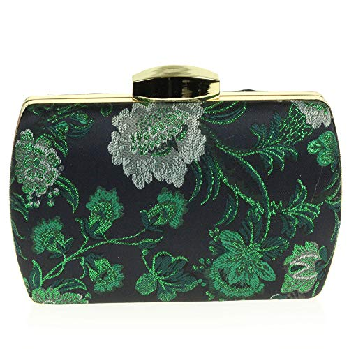 Women Ladies Minaudiere Hard Evening Patterned Bag Green Case Hand 11qAdrXw