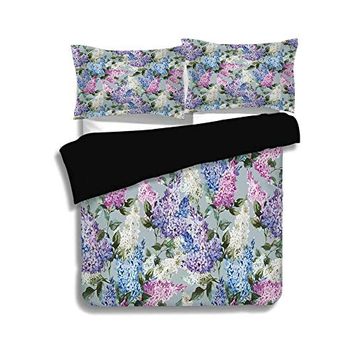 ZOMOY Black Duvet Cover Set Queen Size,Mauve Decor,Various Mix Hyacinth Garden with Flowers and Leaf Branches Summer Plants,Lilac Fuchsia,Decorative 3 Pcs Bedding ()