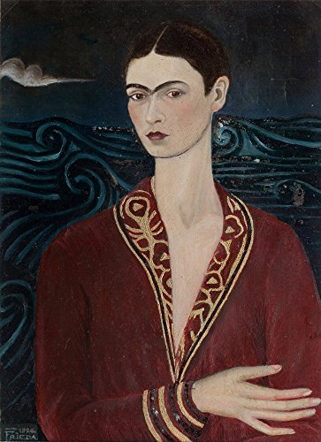 Berkin Arts Kahlo de Rivera Giclee Canvas Print Paintings Poster Reproduction(Self Portrait Wearing a Velvet - Velvet Paintings Black