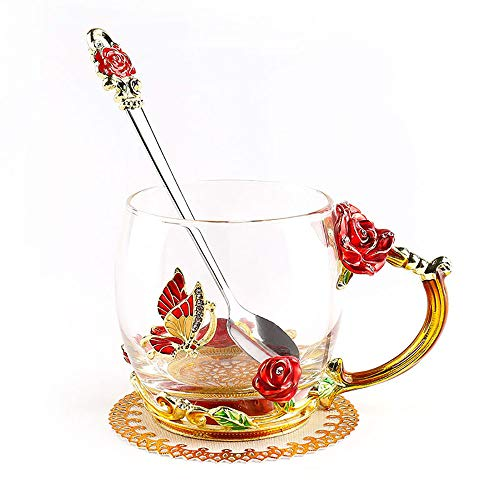 ONEPENG Tea Cups with Spoon Glass Coffee Mugs Enamel Handmade Unique Butterfly Rose Flower For Women Valentine's Day Birthday Presents Decoration Wedding Gift (Rose-Red-Short) ()