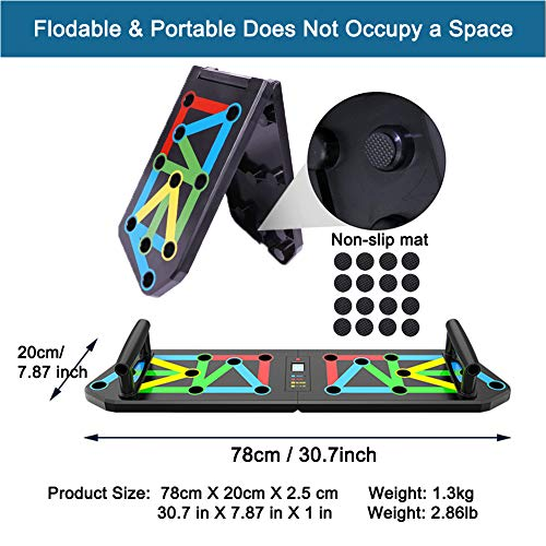 Vonloge Push Up Board Folding Pushup Handles 13 in 1 Professional Chest Muscle, Biceps, Triceps Training System Home Gym Equipment for Men Women (Auto Counter)