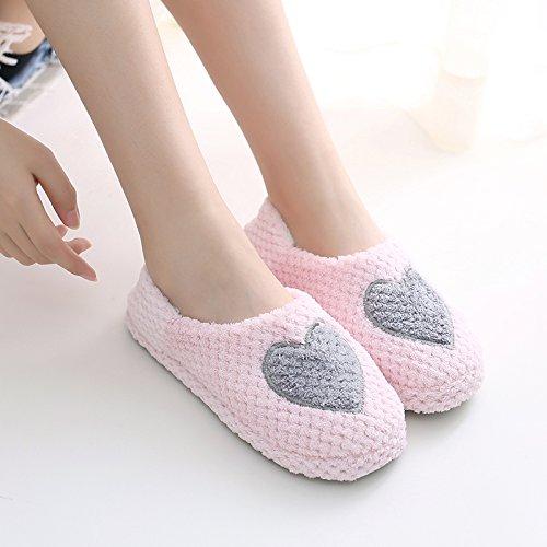 Fankou autunno inverno scarpe morbide pacchetto di fondo con arredamento anti-slip di cotone cartoon pantofole inverno femmina ,36-37 (34-35), Amore grigio
