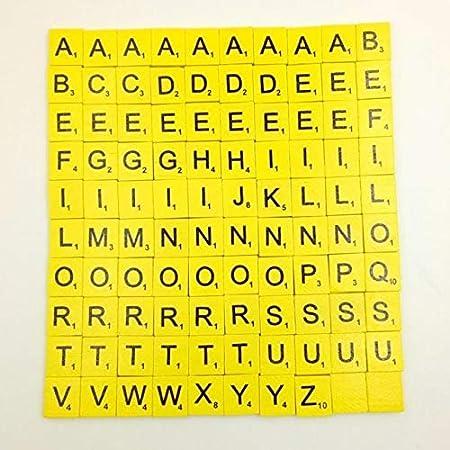 FairOnly 100 baldosas de Madera para Scrabble, Letras Negras, números para Manualidades, alfabetos de Madera: Amazon.es: Hogar