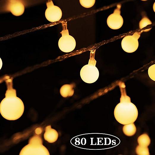 Cuerda Luces - 80 Bombilla 10M Guirnarldas Blancas de Luz Cálida LED Luces del Efecto Estrellado para Decoración Interior Jardines Casas Boda Fiesta de Navidad: Amazon.es: Iluminación