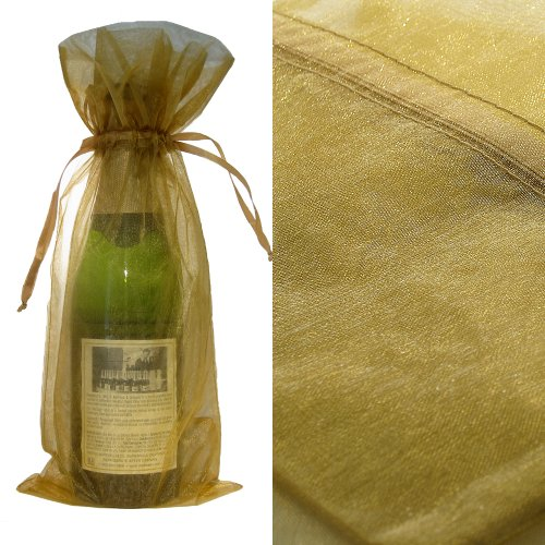 200x Gold Bottle & Wine Organza Favor Gift Bags 6.5x15 inch ($0.94 each) by Ameba Concept