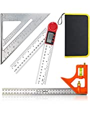 """3 Packs Measuring Tool Set, 12"""" Adjustable Combination Set, 7"""" Aluminum Triangle Ruler Square and Digital Angle Finder Protractor with Zeroing and Locking Function"""