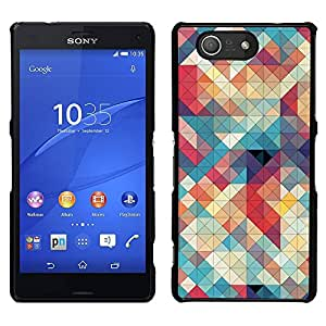 A-type Arte & diseño plástico duro Fundas Cover Cubre Hard Case Cover para Sony Xperia Z3 Compact / Z3 Mini (Not Z3) (Quilted Teal Plaid Red White)