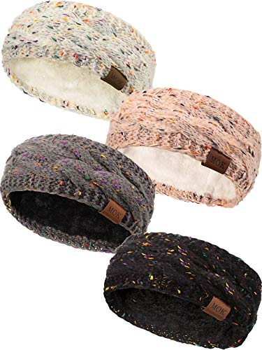 4 Pieces Women Warm Fuzzy Fleece Lined Headband Winter Knit Ear Warmer Headwrap Confetti Thick Cable Headband (Confetti Set)