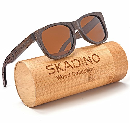 SKADINO Wayfarer Bamboo Sunglasses with Polarized lenses-Handmade Floating Wood Shades for Men&Women-Flying - Floating Sunglasses Polarized