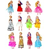 "Miniature Doll 12-pack Play-set Bundle with Princess and Fashion Clothes Accessories. Great for birthday party favors, tea parties, and dollhouses. 6"" tall"