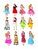 "Toys : Miniature Doll 12-pack Play-set Bundle with Princess and Fashion Clothes Accessories. Great for birthday party favors, tea parties, and dollhouses. 6"" tall"