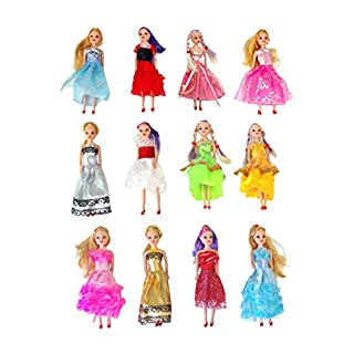 """Butterfly Craze Miniature Doll Play-Set Bundle with Princess and Fashion Clothes Accessories. Great for Birthday Party Favors, Tea Parties, and Dollhouses. 6"""" Tall (12 Doll Set)"""