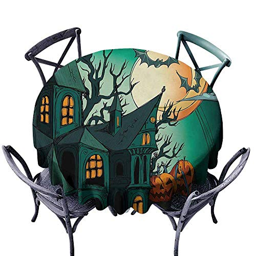 VIVIDX Fashions Table Cloth,Halloween,Haunted Medieval Cartoon Style Bats in Twilight Gothic Fiction Spooky Art Print,for Banquet Decoration Dining Table Cover,35 INCH,Orange Teal