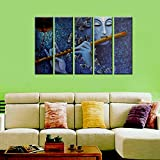 Wall Mantra 5 Panel Radha Krishna & Butterfly Wall Art Canvas Photo Painting