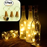 kingleder Set of 4 Warm White Solar Wine Bottle Cork Lights 10 LED Copper String Starry LED Lights for Bottle DIY, Party, Decor, Christmas, Halloween, Wedding, Accent Mood Lights(Bottle NOT Included)