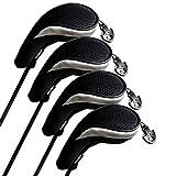 Andux Golf Hybrid Club Head Covers Set of 4 Black/silver Interchangeable No. Tag Mt/hy06