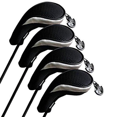 Andux Golf Hybrid Club Head Covers Set of 4 Black/silver Interchangeable No. Tag Mt/hy06