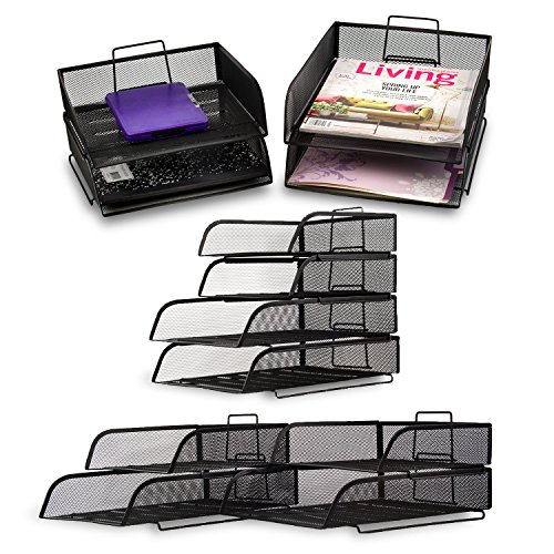 2 Piece Office Desk (Stackable 2 Big Letter Tray + 2 Small Letter ~ 4 Piece Set ~ Office Desk Organizer, Black)