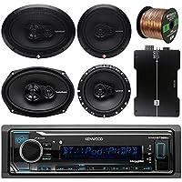 Kenwood KMMBT322U Bluetooth AM/FM Radio Car Receiver Bundle Combo W/ 2x Rockford Fosgate 6.5 180 Watt 3-Way Full-Range Coaxial Speaker + 2x 6x9 Audio Speaker + 50Ft 16g Speaker Wire (With Amplifier)