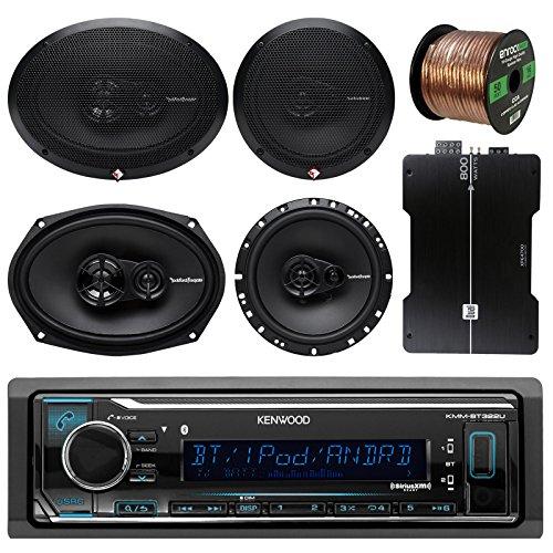 (Kenwood KMMBT322U Bluetooth AM/FM Radio Car Receiver Bundle Combo W/ 2x Rockford Fosgate 6.5