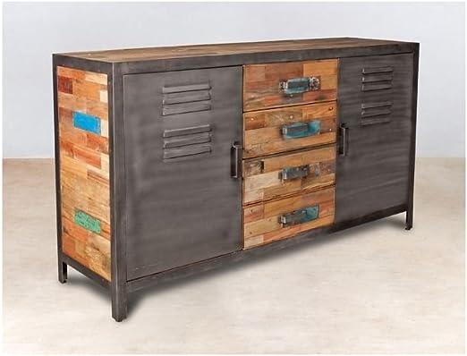 PierImport aparador Madera reciclada 4 cajones Madera reciclada 2 Puertas metálicas 160 x 45 x 90 cm Caravelle: Amazon.es: Hogar