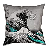 ArtVerse Katsushika Hokusai the Great Wave with Teal Accents Floor Pillows Double Sided Print with Concealed Zipper & Insert, 28'' x 28''