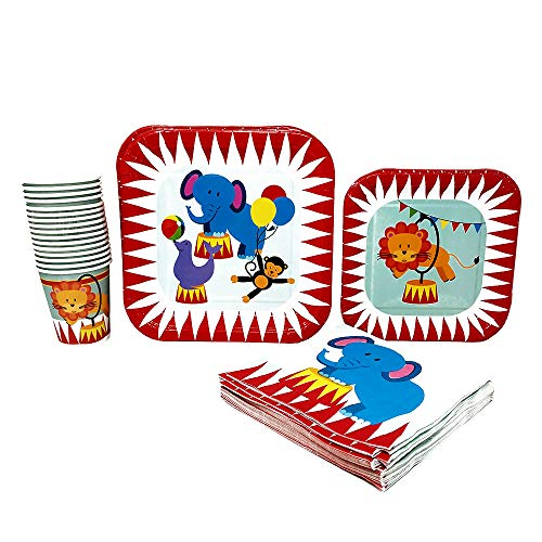 Blue Orchards Circus Party Supplies Pack (65+ Pieces for 16 Guests!), Circus Tableware, Big Top Birthday -