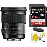 Sigma 50mm f/1.4 DG HSM Art Lens for Nikon DSLR Cameras (USA Warranty) + SanDisk 64GB Extreme PRO UHS-I SDXC Memory Card + SD Card Reader + Lens Cleaning Kit