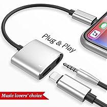 3.5mm Adattatore per cuffie per iPhone X 10 / iPhone 8/8 Plus iPhone 7/7 Plus / 6S / 6 / iPod / iPad , da Lightning a 3.5mm Lightning Rod Stand Audio e cavo Jack per cuffie Adattatore per caricabatterie Splitter Carica audio + Regola il volume, compatibile con iOS 10.33 o successivo