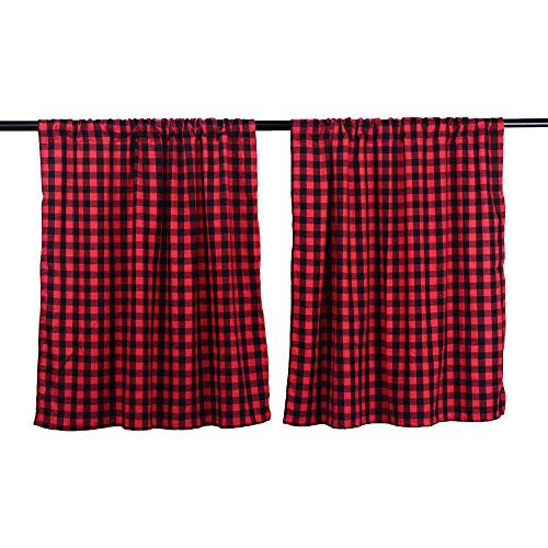 LGHome Black and Red Buffalo Check Curtains Gingham Window Panels Window Treatment 36x36inch, Set of 2, Black and Red (Breakfast Country Ideas Nook)