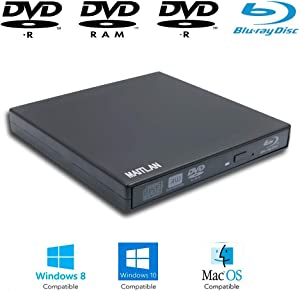 New USB External Blu-ray Movies CD/DVD Disc Player for HP Dell Lenovo Asus Acer Samsung Toshiba Sony Ultrabook Laptops, Super Multi 8X DVD+-R/RW 24X CD-R Burner, Pop-up Portable Optical Drive
