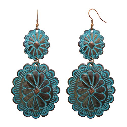 Rosemarie Collections Womens Southwest Jewelry Concho Design Long Dangle Earrings  Copper Patina
