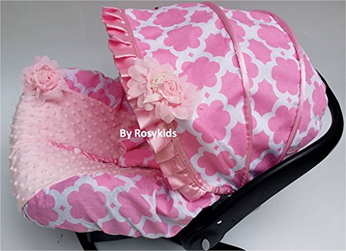 Rosy Kids Infant Carseat Canopy Cover 3 Pc Whole Caboodle Baby Car Seat Cover Kit Cotton C031200