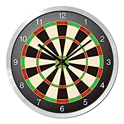 BYLE Non Ticking Battery Operated Decorative Creative Stylish Children'S Room 玩 Sports Darts Target Drive Ultra-Quiet Interior Wall Clock, 12 Inch, Black-Silver Box,
