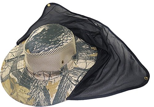 Eforstore Mesh Military Camouflage Bucket Hat with Anti-Mosquito Bees Fly Mask Neck Flap Hat Sun Protection Shield Boonie Hats for Fishing Hiking Hunting Boating Safari Farming Garden Work Outdoor, Maple Leaf Camo #6 ()