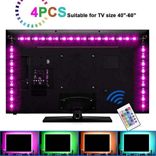 Led Theater Home (SUNNEST LED TV Backlight, 2M/6.56ft 5V USB LED Strips 5050 RGB Bias Lighting with Remote for HDTV Desktop PC Monitor Home Theater Kitchen Cabinets, LED Light Strips, TV Backlight (40-60in, Multicolor))