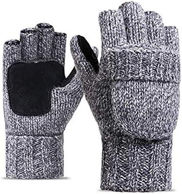 BTXXYJP ウールニット手袋ハーフフィンガーフリップユニセックスプラスベルベット厚みの革暖かいアウトドア乗馬アウトドアグローブ (Color : ブラック, Size : One Size)