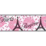 York Wallcoverings KS2264B Eiffel Tower Paris Wallpaper Border, Pink - Ultra Removable